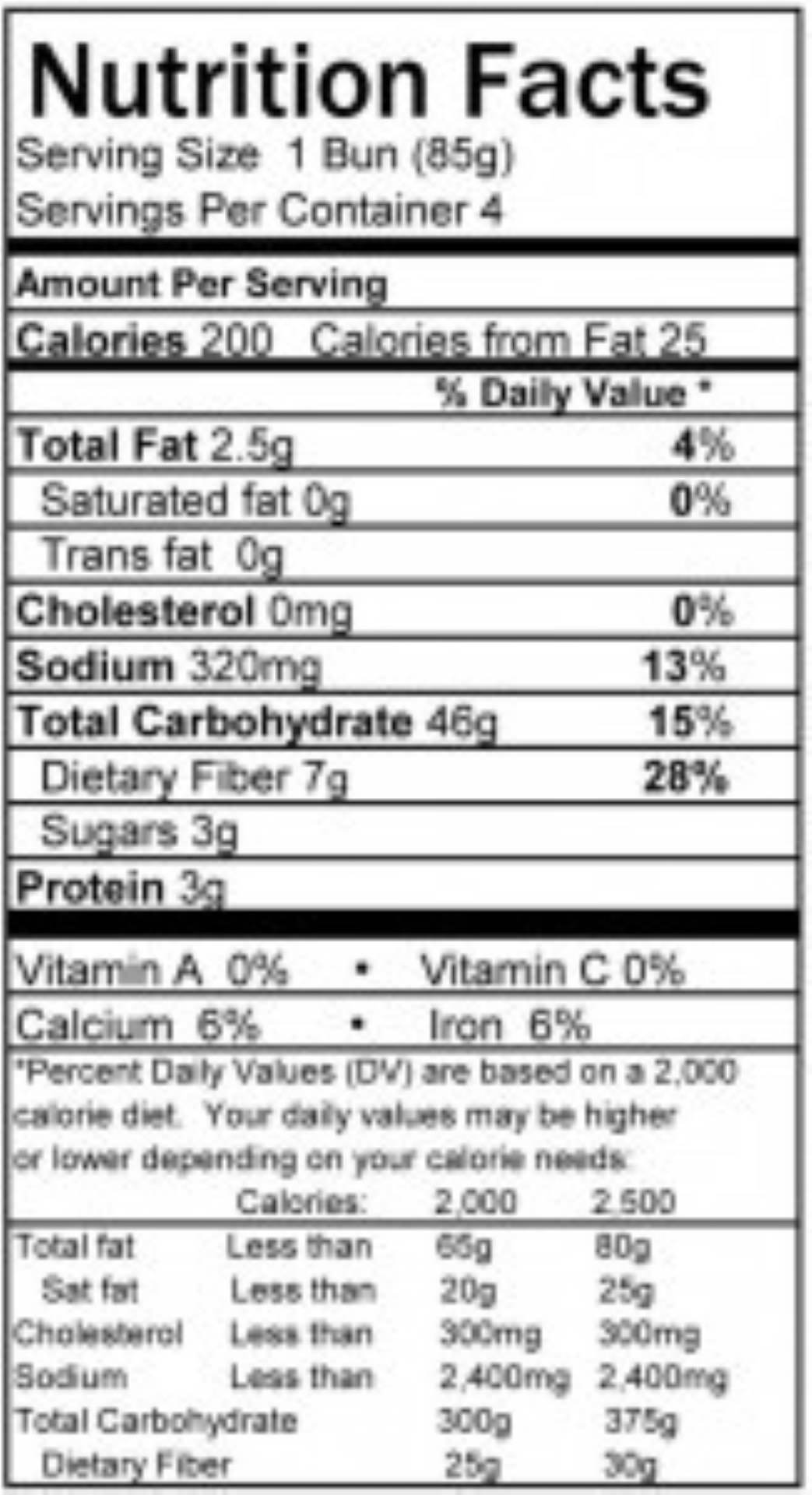 Hamburger buns Nutritional Panel