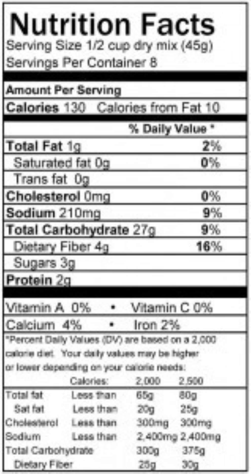 Seasoned Stuffing Nutrition Panel