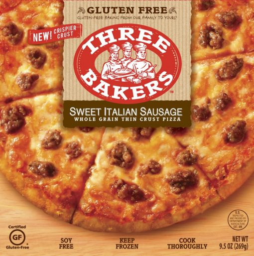 three bakers gluten free sausage pizza
