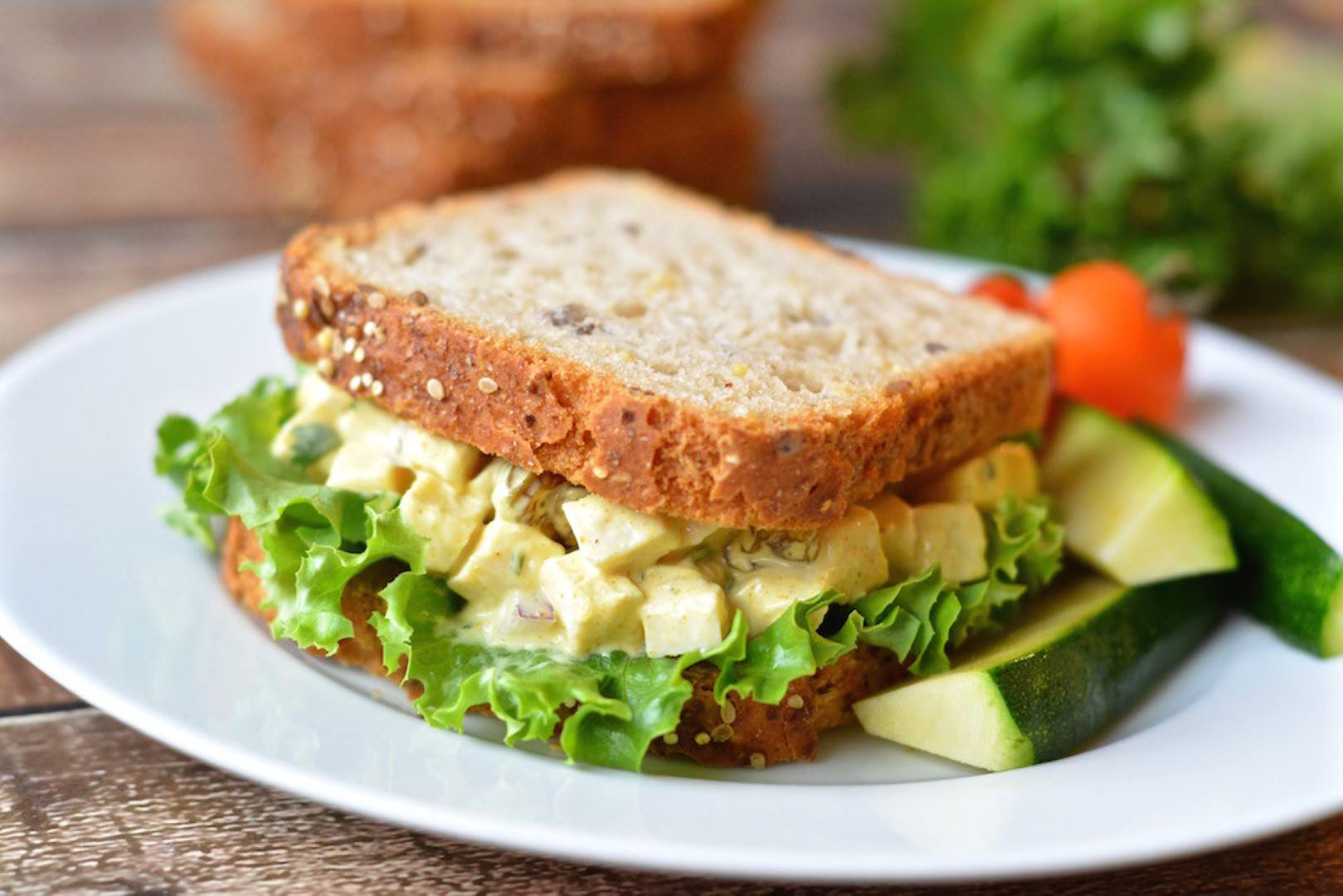 curried chicken salad on gluten-free bread