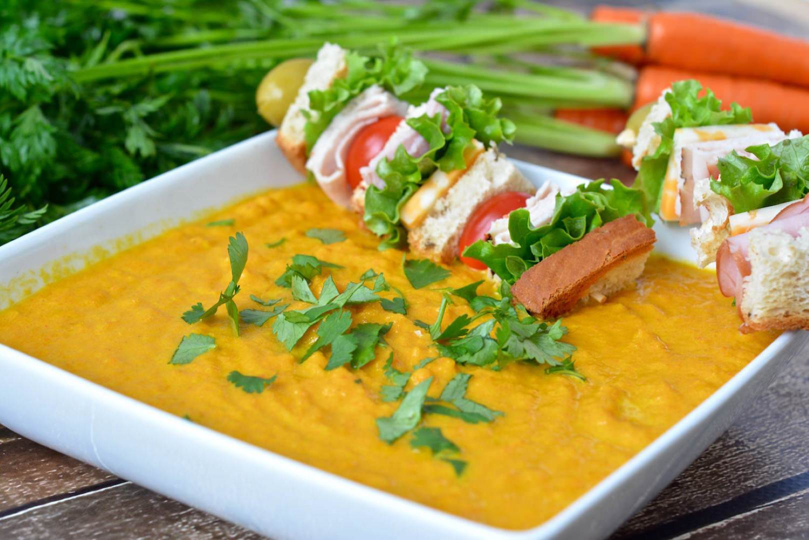 Three Bakers Curried Carrot Soup w:Club Sandwich Skewers 4