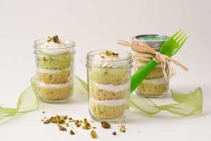 food for celiacs Gluten Free Dairy Free Pistachio Cupcakes in a Jar