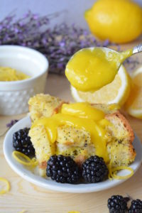 easy easter brunch recipe - Lemon Poppy Seed Bread Pudding with Lemon Curd Sauce