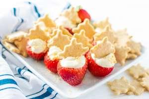 gf recipe Three Bakers Cheesecake Stuffed Strawberries Header