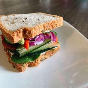 loaded veggie sandwich on gluten-free bread