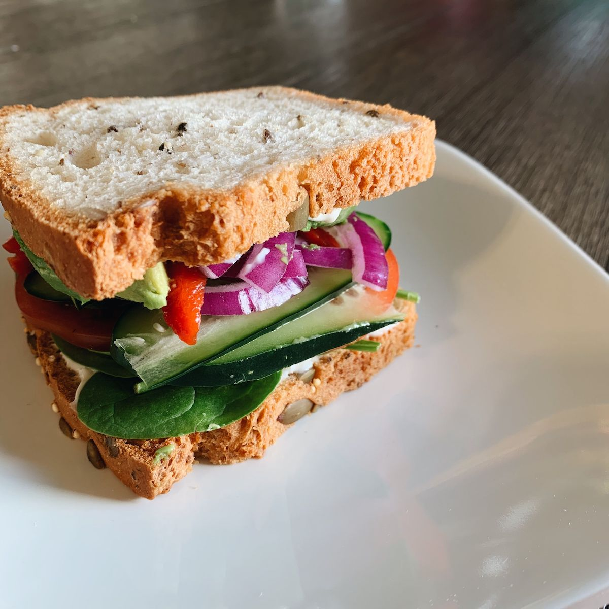 loaded veggie sandwich on gluten-free bread